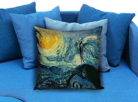 jack skellington nightmare before christmas meets starry night Pillow case
