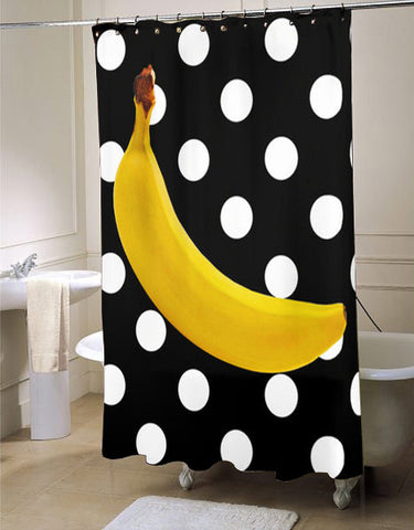 kitsch decor, unique shower curtain, banana shower curtain