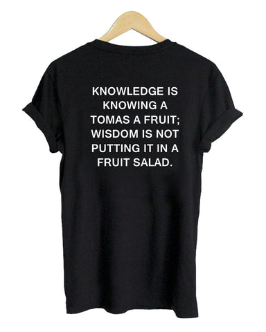 knowledge tshirt back