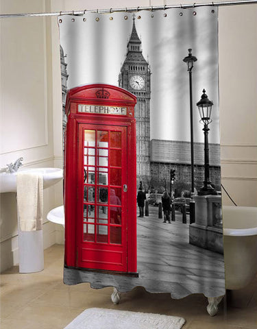 london big ben pattern shower curtain customized design for home decor
