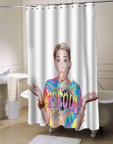miley cyrus ice cream face shower curtain customized design for home decor
