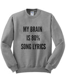 My brain is 80% song lyrics sweatshirt