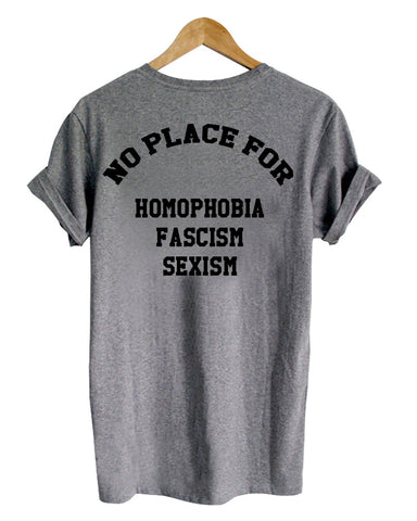 no place for homophobia shirt back printed