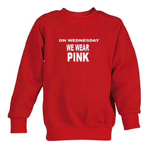 on wednesday we wear pink sweatshirt