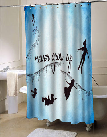peter pan never grow up shower curtain customized design for home decor