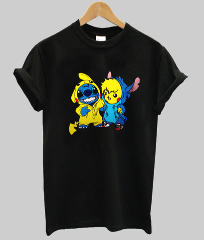 pikachu & stitch  T shirt