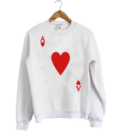 playing card ace of hearts sweatshirt