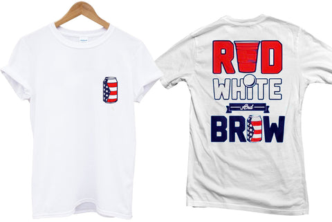 red white and brow T shirt