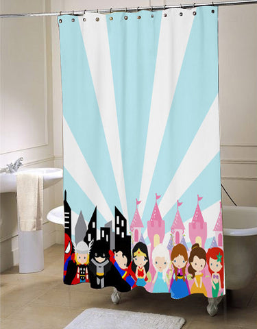 superhero princess  blue and pink shower curtain customized design for home decor