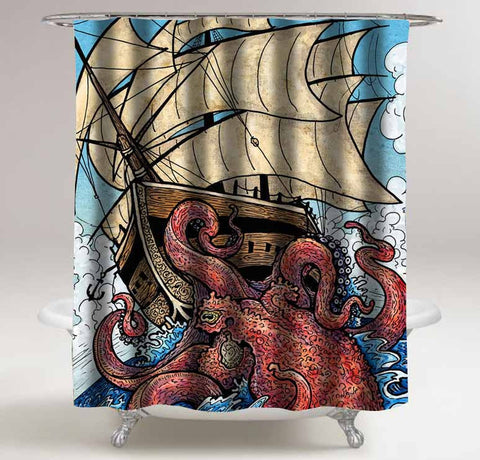 the octopus attack shower curtain customized design for home decor