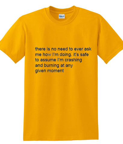 there is no need to ever ask me how i'm doing T shirt