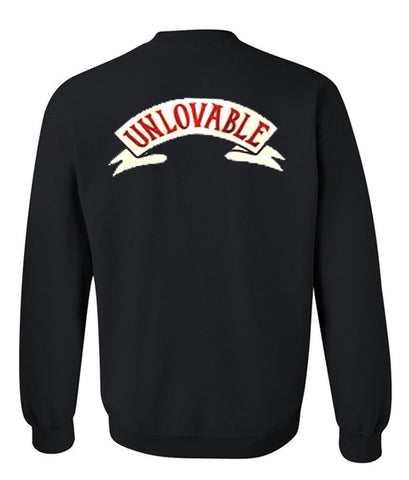 unloveable sweatshirt back
