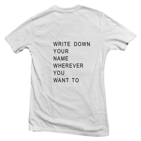 write down back T shirt