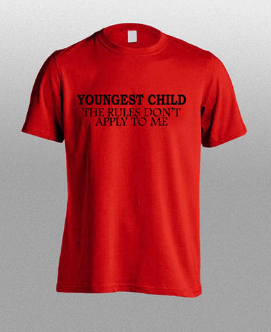 youngest child red T shirt