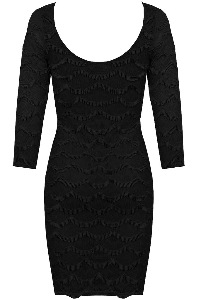 Women's LBD with Scoop Neck & 3/4 Length Sleeves - Rear