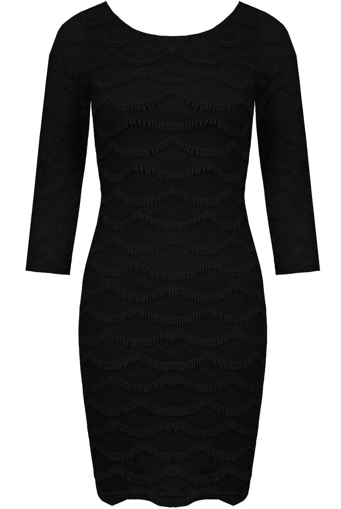 Women's Fashion Little Black Dress with 3/4 Length Sleeves - Front