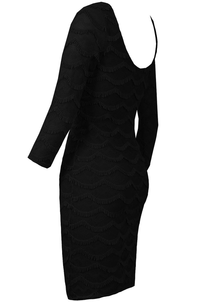 Women's Fashion Black Party Dress/Office Christmas Partywear - Side