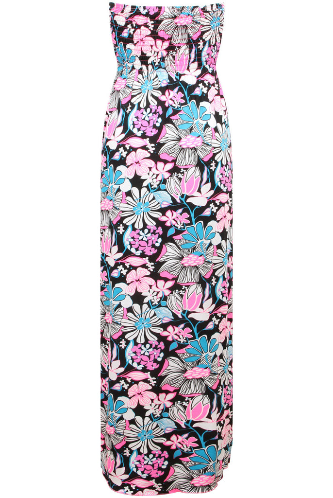 Ladies Fashion Black and Pink Tropical Floral Print Drape Maxi Dress - Rear