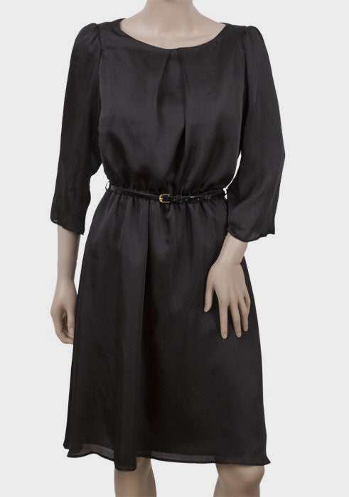 Women's Fashion Stylish satin black dress with elasticated waistline & belt. 3/4 length sleeves & fully lined - Front