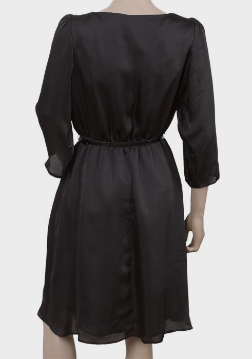 Ladies Classic Little Black Dress In Satin With Belted Waist - Rear
