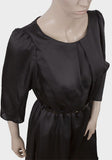 Ladies Fashion Fully Lined Satin Black Dress With Scoop Neckline - Close Up