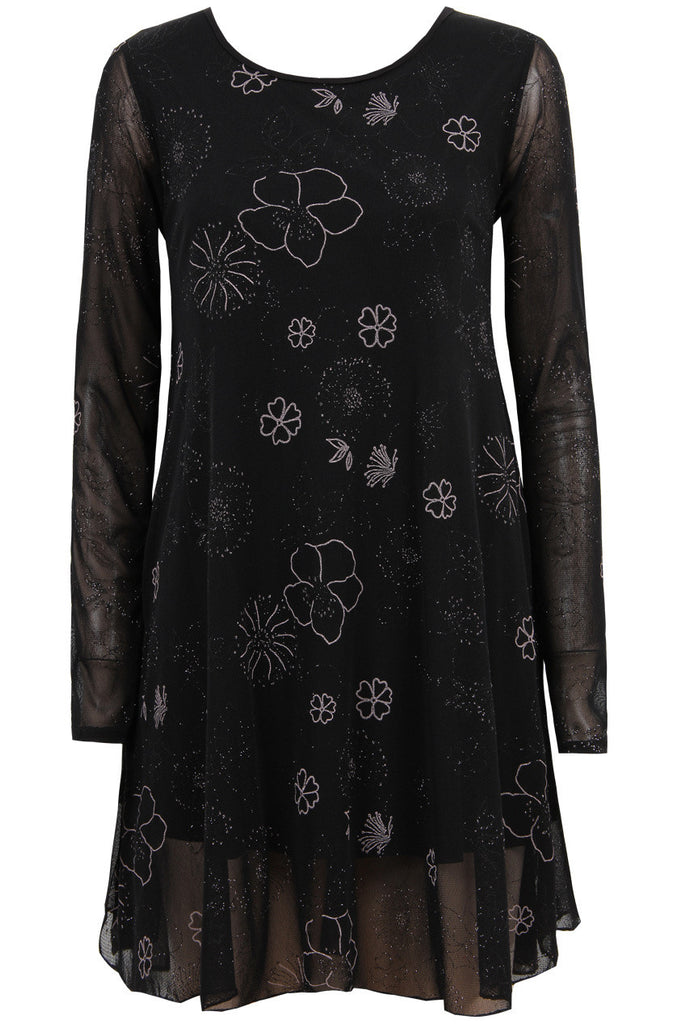 Women's Fashion LBD With Silver Flower Detail, Swing Style With Long Sleeves - Front