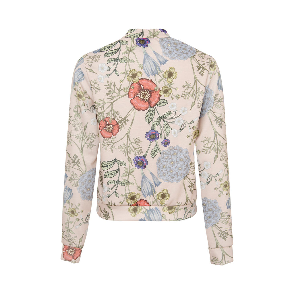 Women's Fashion Ladies Botanical Bomber Jacket - Back