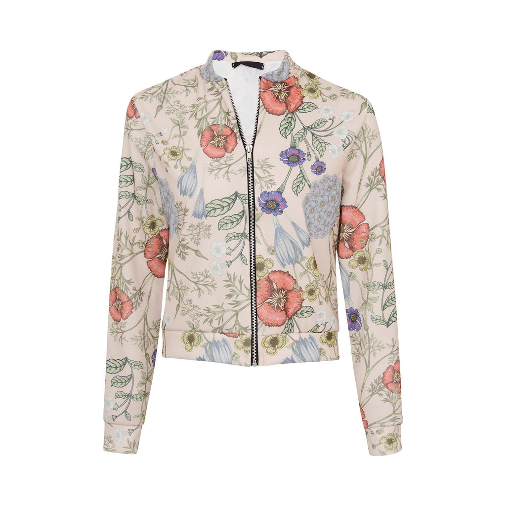 Women's Fashion Ladies Botanical Bomber Jacket With Zip Fastening - Front