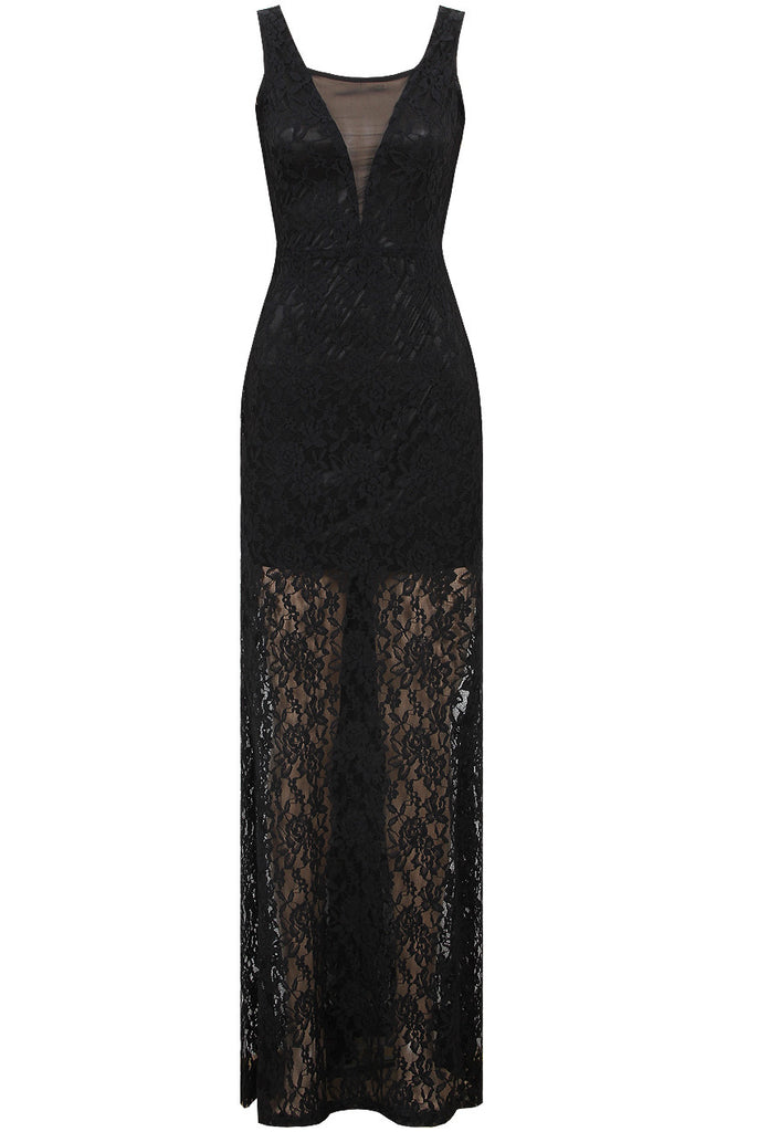 Women's Fashion Maxi Dress, Black Lace Skirt Over A Velvet Upper - Front