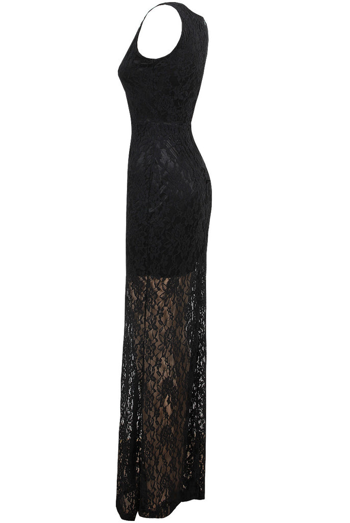 Women's Fashion Party Dress, Long Lace Skirt Covering A Black Mini Dress - Side