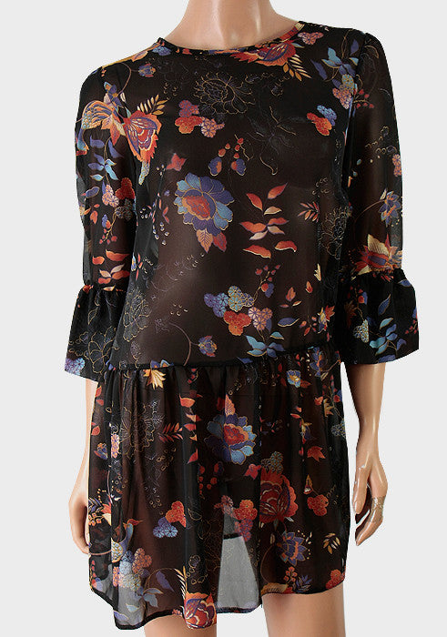 Ladies Fashion Tunic/Dress/Top in Colour Floral Print On Black Chiffon Fabric, 3/4 Length Sleeves - Rear