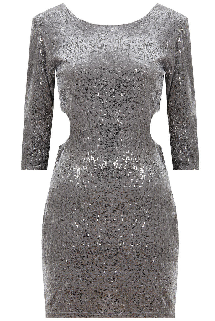 Women's Fashion Silver Sequin Bodycon Dress With Scoop Neck & 3/4 Length Sleeves - Front