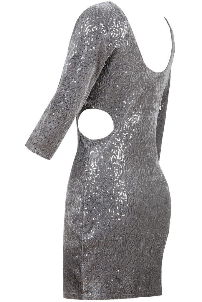 Women's Cocktail Party Dress With Silver Sequin Finish - Side