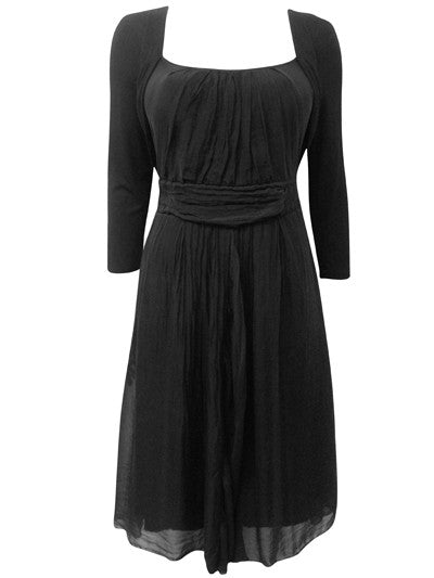 Women's Fashion Little Black Dress with Silk Overlay & Long Sleeves - Front