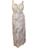 Women's maxi dress with waste cinching belt and button detail on front - front