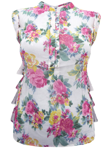 Blue Floral Print Cotton Sleeveless Shirt