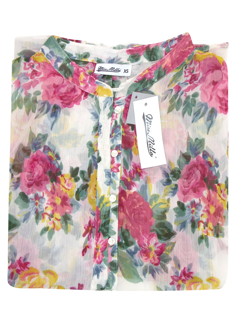 Ladies Floral Printed Collarless Blouse - Close Up Collar