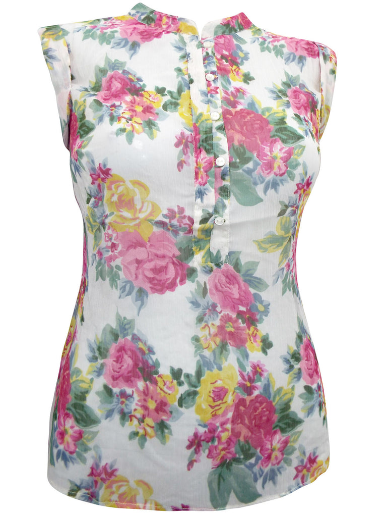 Women's Floral Printed Collarless Blouse from The Dress Box - Front