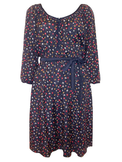 Women's Fashion Tea Dress With On Trend Bird & Spot  Print, Plus Sizes Avaialble - Front