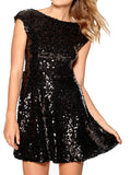 Ladies Fashion Sequin Embellished Little Black V Back Skater Dress Close Up