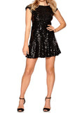 Ladies Fashion Sequin Embellished Little Black V Back Skater Dress Full Length
