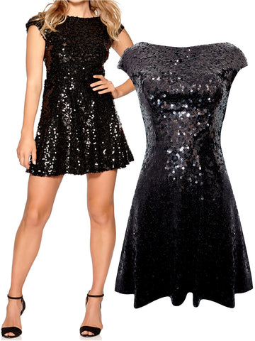Black and Gold Glitter Bodycon Party Dress with Overlay