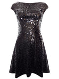 Ladies Fashion Sequin Embellished Little Black V Back Skater Dress