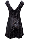 Ladies Fashion Sequin Embellished Little Black V Back Skater Dress Back