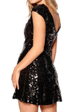 Ladies Fashion Sequin Embellished Little Black V Back Skater Dress Side View