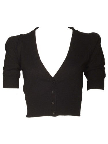 Women's Fashion Cropped Cardigan With 3/4 Length Sleeves - Front