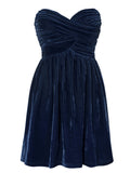 Ladies Fashion Crushed Velvet Cobalt Blue Strapless Party Skater Dress
