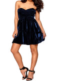 Ladies Fashion Crushed Velvet Cobalt Blue Strapless Party Skater Dress Side