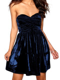 Ladies Fashion Crushed Velvet Cobalt Blue Strapless Party Skater Dress Close Up