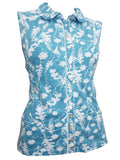 Blue Floral Print Sleeveless Shirt (Angle)